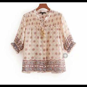 Zara blouse sz s with tassels